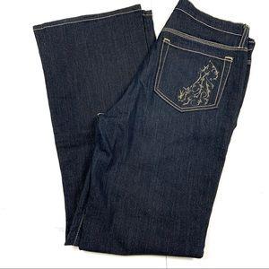 Nydj metallic shimmer boot cut jeans high waist